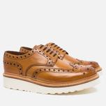 Мужские ботинки броги Grenson Archie Brogue Sole Rubber Tan фото- 1