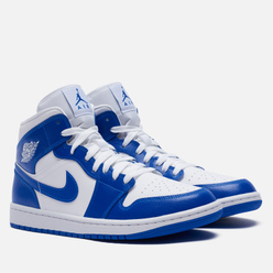 Женские кроссовки Jordan Wmns Air Jordan 1 Mid Kentucky Blue White/Hyper Royal/White