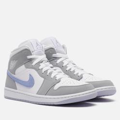 Женские кроссовки Jordan Wmns Air Jordan 1 Mid White/Aluminum/Wolf Grey