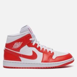 Кроссовки Jordan Wmns Air Jordan 1 Mid Syracuse White/Habanero Red/White