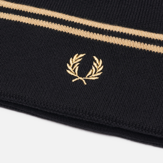 Шапка Fred Perry Twin Tipped Merino Black/Champagne