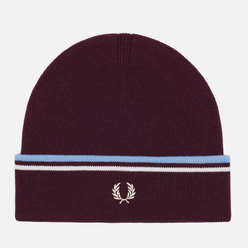 Шапка Fred Perry Twin Tipped Merino Rich Mahogany/Snow White/Sky Blue