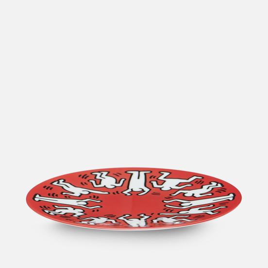 Тарелка Ligne Blanche Keith Haring White On Red Medium