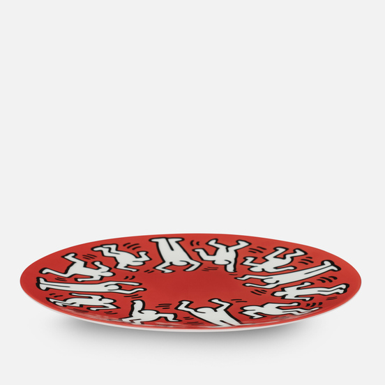 Тарелка Ligne Blanche Keith Haring White On Red Large