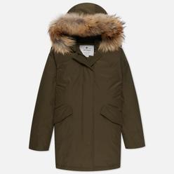 Женская куртка парка Woolrich Arctic Racoon Fur Dark Green