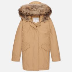 Женская куртка парка Woolrich Arctic Racoon Fur Gold Khaki