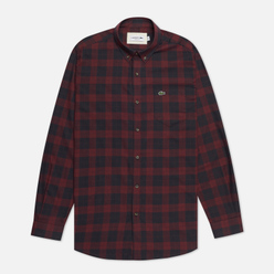 Мужская рубашка Lacoste Regular Fit Checkered Black/Bordeaux