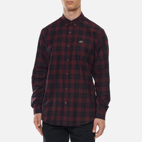 Мужская рубашка Lacoste Regular Fit Checkered Black/Bordeaux