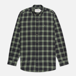 Мужская рубашка Lacoste Regular Fit Checkered Black/Khaki Green