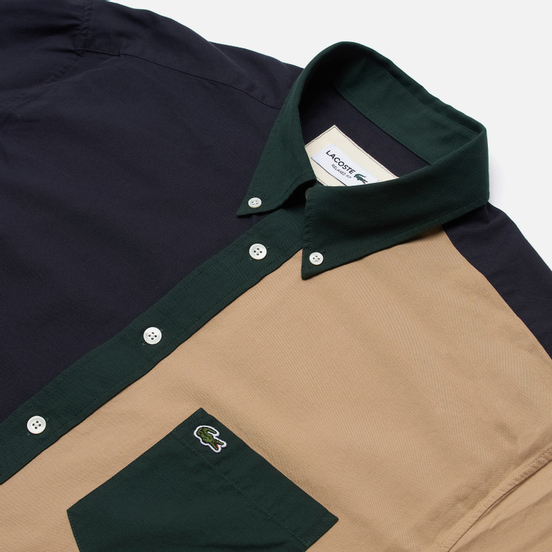 Мужская рубашка Lacoste Lightweight Regular Fit Colourblock Navy Blue/Green/Beige