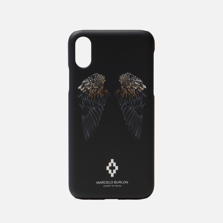 Чехол Marcelo Burlon Heart Wings iPhone X Black/White