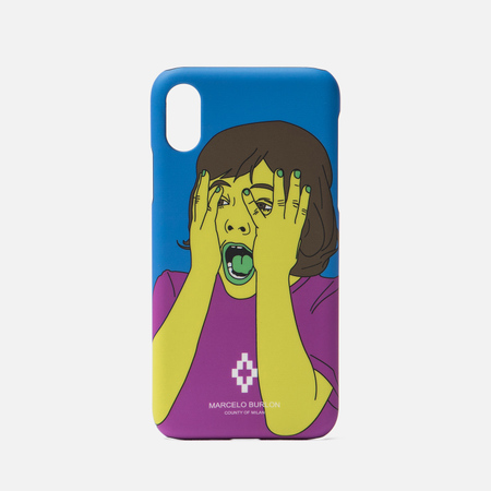Чехол Marcelo Burlon Scared Face iPhone X Multicolor/White