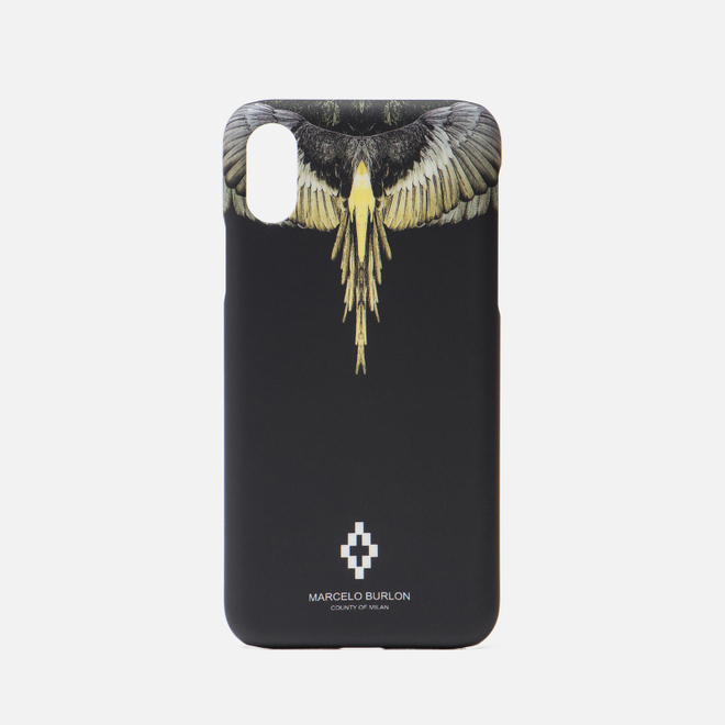 Чехол Marcelo Burlon Yellow Wings iPhone X Black/Multicolor