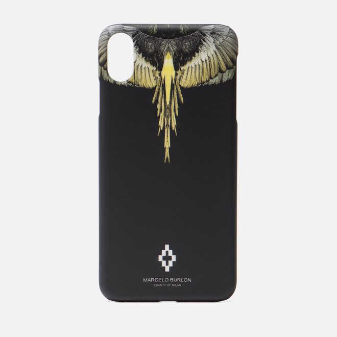 Чехол Marcelo Burlon Yellow Wings iPhone Xs Max Black/Multicolor