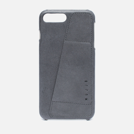 Mujjo Leather Wallet iPhone 7 Plus Case Grey