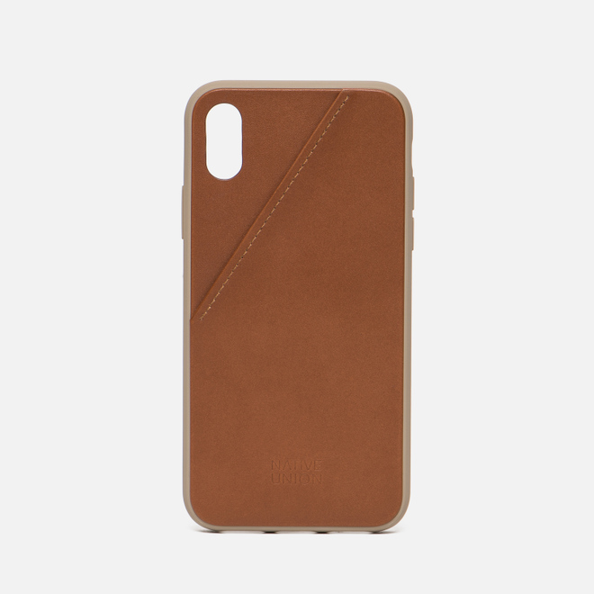 Чехол Native Union Clic Card Leather iPhone X Taupe