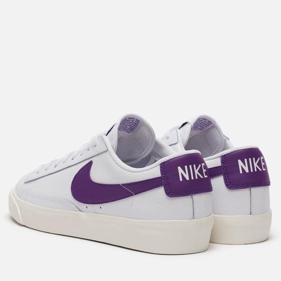 Мужские кроссовки Nike Blazer Low Leather White/Voltage Purple/Sail