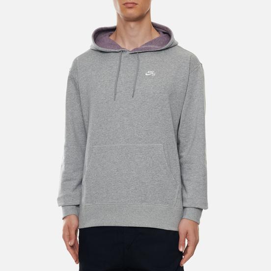 Мужская толстовка Nike SB Skate Hoodie Dark Grey Heather/White