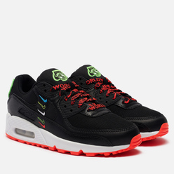 Кроссовки Nike Wmns Air Max 90 Worldwide Pack Black/Black/Flash Crimson/Green Strike