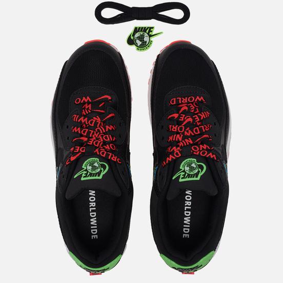 Кроссовки Nike Wmns Air Max 90 Worldwide Pack Black/Black/Flash Crimson/Green Strike