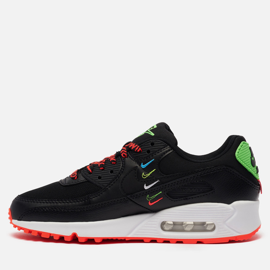 Женские кроссовки Nike Wmns Air Max 90 Worldwide Pack Black/Black/Flash Crimson/Green Strike