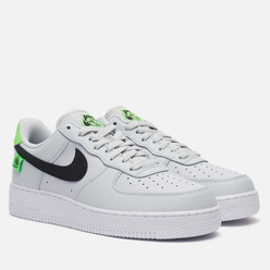 Мужские кроссовки Nike Air Force 1 07 Worldwide Pure Platinum/Black/Green Strike