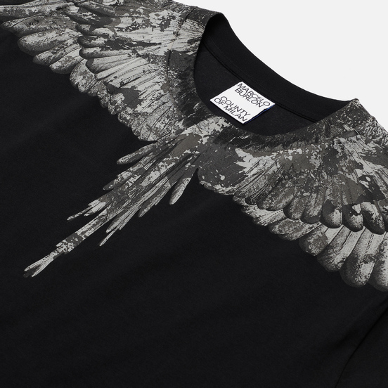 Мужская футболка Marcelo Burlon Camou Wings Basic Black/Dark Grey