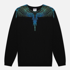 Мужская толстовка Marcelo Burlon Wings Regular Crewneck Black/Blue Neon