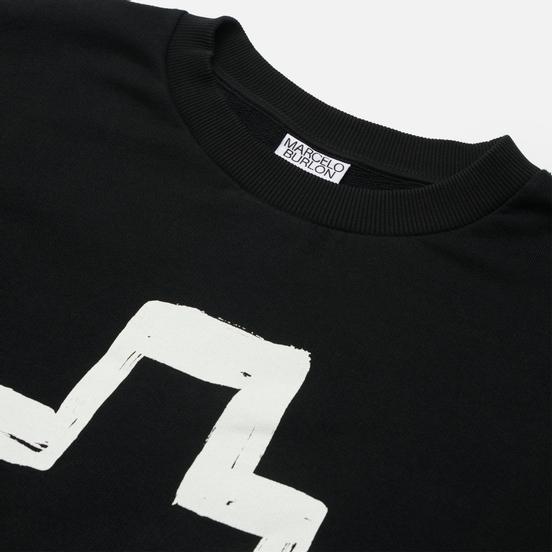 Мужская толстовка Marcelo Burlon Tempera Cross Over Crewneck Black/White