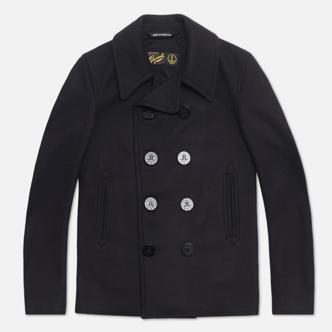 Gloverall Big Button Reefer Coat Navy