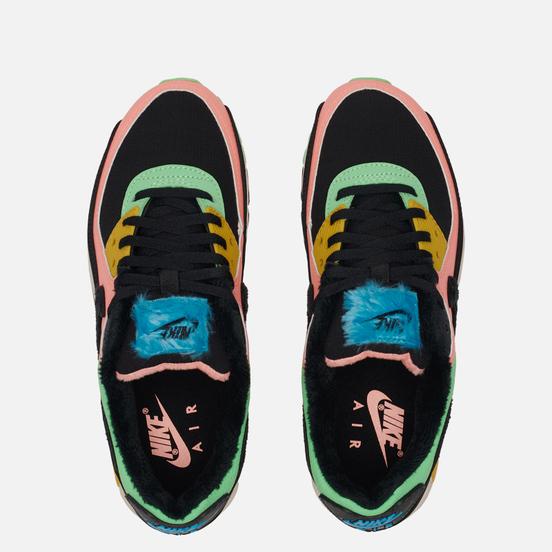 Женские кроссовки Nike Air Max 90 Premium Atomic Pink/Black/Laser Blue/Solar Flare