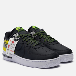 Кроссовки Nike x 3M Air Force 1 React LX Anthracite/Black/Volt/Habanero Red