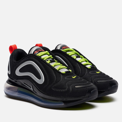 Женские кроссовки Nike Air Max 720 Black/Metallic Silver/Medium Violet/Volt