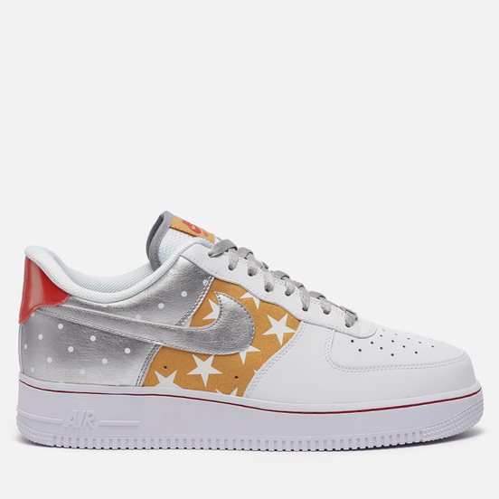 Кроссовки Nike Wmns Air Force 1 07 Dots And Stars White/Metallic Silver/Metallic Gold