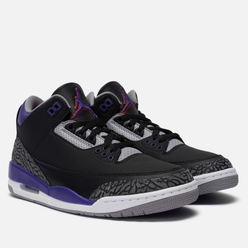 Мужские кроссовки Jordan Air Jordan 3 Retro Black/Court Purple/Cement Grey/White