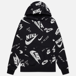 Мужская толстовка Nike Sportswear Club All Over Print Hoodie Black/White