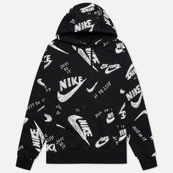 Мужская толстовка Nike Sportswear Club All Over Print Hoodie Black/White
