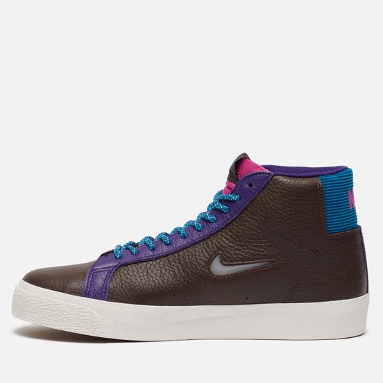 Кроссовки Nike SB Zoom Blazer Mid Premium Baroque Brown/White/Green Abyss