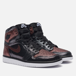 Женские кроссовки Jordan Air Jordan 1 High OG Fearless Black/Black/Metallic Rose Gold/White