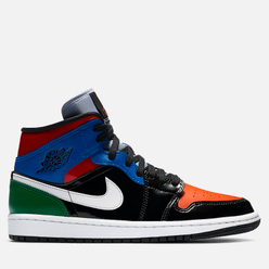 Женские кроссовки Jordan Air Jordan 1 Mid SE Multi Patent Black/University Red/Hyper Royal
