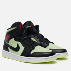 Женские кроссовки Jordan Wmns Air Jordan 1 Mid SE Black/Chile Red/Barely Volt/White