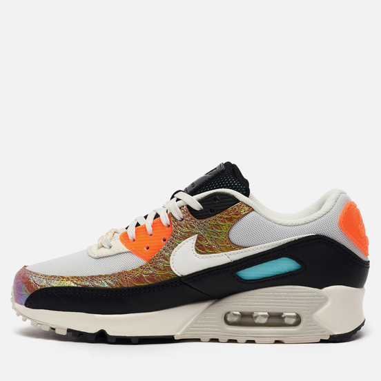Женские кроссовки Nike Air Max 90 Gold Reptile Light Bone/Sail/Hyper Crimson/Black