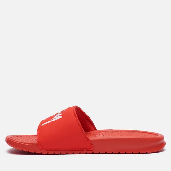 Мужские сланцы Nike x Stussy Benassi Habanero Red/White