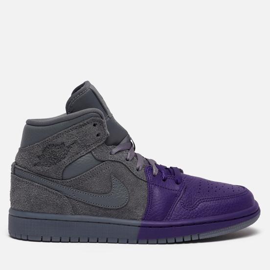 Женские кроссовки Jordan x Sheila Rashid Wmns Air Jordan 1 Mid SE Unite Cool Grey/Cool Grey/Field Purple