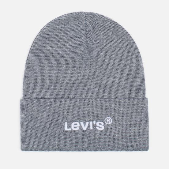 Шапка Levi's Wordmark Beanie Regular Grey