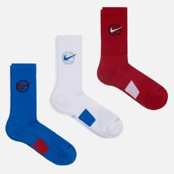 Комплект носков Nike 3-Pack Everyday Crew Basketball Multi-Color/Blue/White/Red