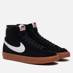 Женские кроссовки Nike Blazer Mid 77 Suede Black/White/Gum Med Brown/Total Orange