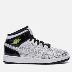 Подростковые кроссовки Jordan Air Jordan 1 Mid SE GS DIY White/White/Black/Volt