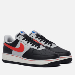 Кроссовки Nike x NBA Air Force 1 07 LV8 Embroidered Chile Red Black/Chile Red/Grey Fog/Sail