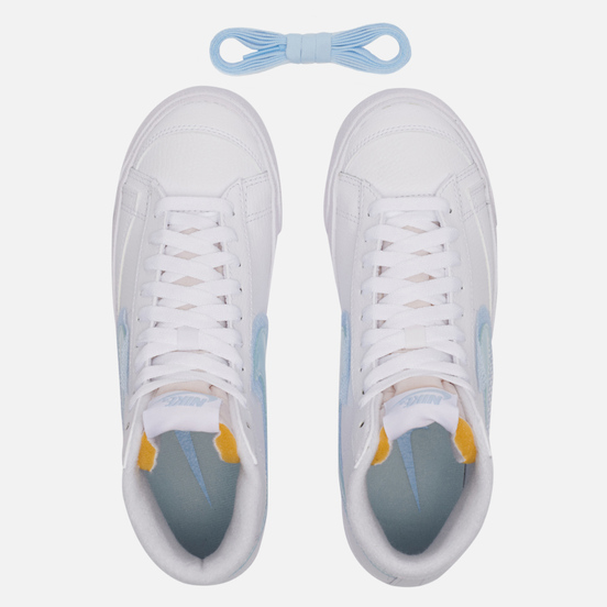 Женские кроссовки Nike Blazer Mid 77 White/Glacier Blue/Metallic Platinum